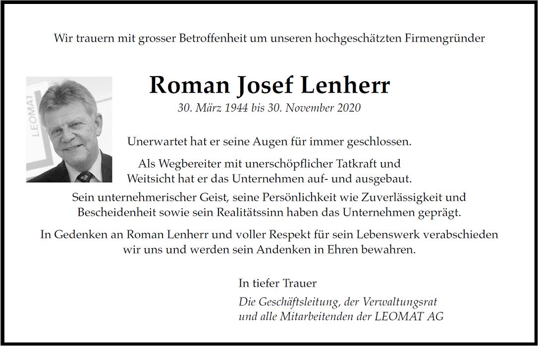 Todesanzeige Roman Lenherr LEOMAT web